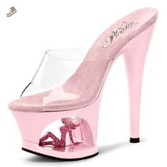 dd76189e8a0 Pale Pink Heels with Sparkling Trucker Girl in Cutout Platform and 7 Inch  Heel Size
