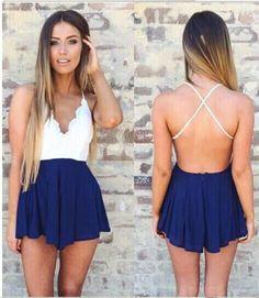 2016 Women's Fashion Boho Sexy Lace Sweetheart Backless Blue Chiffon Romper Shorts SALE