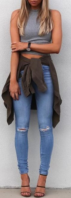 #summer #cool #outfits | Grey Crop + Jeans