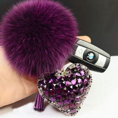 Crystal Heart Fur Ball Pom Pom and Tassel Keychain