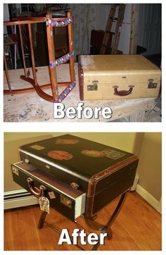 upcycled furniture...I want to make one of these for my living room to use as a side table