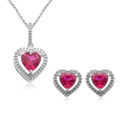 A heart shaped created ruby stone showcases a fiery red finish surrounded by diamond accents on this pendant and stud earring set. This set's elegant design makes it a wonderful gift for any special occasion.