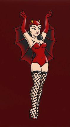 Big Fashion, School Fashion, Devil Tattoo, Pin Up Posters, Pin Up Tattoos, Sailor Jerry, Tattoo Flash Art, American Traditional, Red Barns