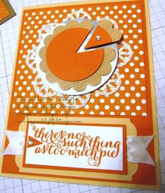 adorable pumpkin pie card alternate idea using the October 2014 kit stamps