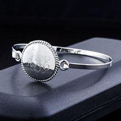 Monogram Sterling Silver Finish Braided Bangle