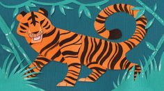 Tiger Original Cut Paper Illustration Art