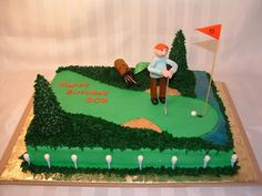 """- BC icing with MMF golfer, tees, balls & golf bag.  Trees are BC iced sugar cones, water is blue piping gel.  I didn't do so well with the hands, but the customer loved it anyway.  The birthday """"boy"""" is a regular at a local pub - also known at the 19th hole to golfers."""