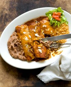 Beef enchiladas with chipotle-pasilla chili gravy - featured on Food2Fork. #food2fork #dinner #recipe