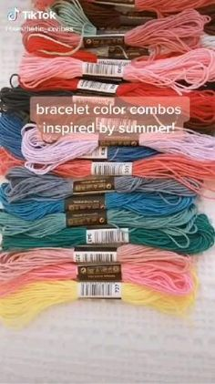 Diy Friendship Bracelets Tutorial, Friendship Bracelets Designs, Diy Bracelets Easy, Thread Bracelets, Embroidery Bracelets, Summer Bracelets, Bracelet Crafts, Bracelet Tutorial, Bracelet Designs