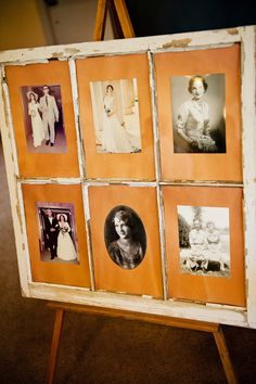 Window pane with pictures of bride, mother, mother-in-law, grandmothers, and great-grandmother on each wedding day