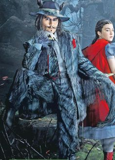 Into the Woods movie costumes;  Colleen Atwood, designer.  Johnny Depp, zoot suit embroidered and with thread hair.