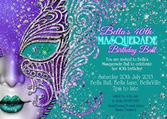 Masquerade Invitation Party Invitations Mardi Gras by BellaLuElla