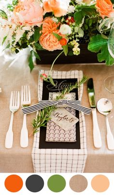 Love the black and white textures in the linen / graphic design http://www.theperfectpalette.com/2014/05/8-color-inspiring-place-settings-bright.html