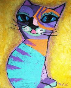 cat by michiya nakao_中尾道也 Cat Paintings, Space Cat, My Works, Cats, Color, Gatos, Kitty Cats, Cat Breeds, Colour