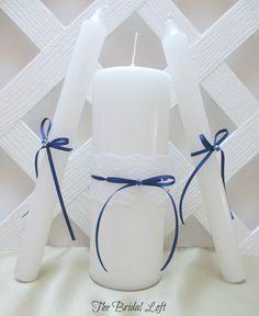 Royal Blue Unity Candle Set, Blue and White Unity Candles, Royal Blue, Wedding Ceremony, by BridalLoft on Etsy