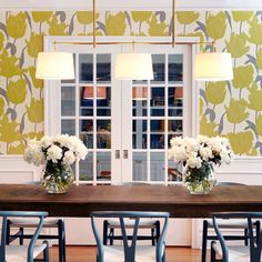 Get inspired by Traditional Dining Room Design photo by Chango & Co. Wayfair lets you find the designer products in the photo and get ideas from thousands of other Traditional Dining Room Design photos. Dining Room Wallpaper, Dining Room Wainscoting, Of Wallpaper, Wallpaper Ideas, Wallpaper Designs, Yellow Dining Room, Billiard Lights, Dining Table Chairs, Dining Rooms
