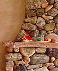 Stacked stone fireplace w/ driftwood mantle = heaven. Stone Mantle, Wood Stone, Brick And Stone, Stone Work, Wood Mantle, Slate Stone, Stone Path, River Rock Fireplaces, Stacked Stone Fireplaces