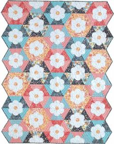 Hexie Flowers Quilt Kit: This enchanting quilt was designed by Amanda Murphy. Kit features fabrics from Amanda Murphy's Modern Lace collection designed for Blend Fabrics.