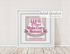 Cross Stitch Pattern, Modern Cross Stitch Pattern - Life is Short Cross Stitch by Peppermint Purple - pinned by pin4etsy.com