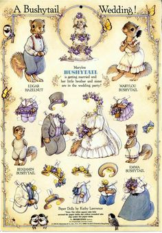 A Bushytail Wedding Paper Dolls by Kathy Lawrence - © 1992 - B. Shackman & Co: of