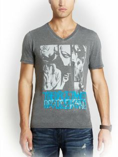 GUESS Men's Life and Times Burnout Tee - http://brandnamedesignersmall.com/product/guess-mens-life-and-times-burnout-tee/