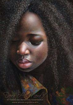 Niña de África by Dora Alis Mera Velasco (DORA ALIS) (African Girl) 2013 Cotton Canvas