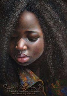 Niña de África by Dora Alis Mera Velasco (DORA ALIS) (African Girl) 2013 Cotton…