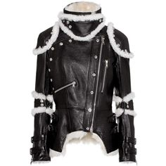 Alexander McQueen Shearling-Trimmed Leather Jacket ($3,480) ❤ liked on Polyvore featuring outerwear, jackets, black, leather, genuine leather jacket, alexander mcqueen jacket, real leather jackets, 100 leather jacket and leather jackets