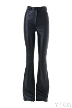 'Indian Woman' Black Faux Leather Bell Bottom Pants