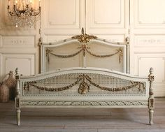 Fabulous Full Vintage French Style Bed with gorgeous caning, and oh so dreamy gilt floral swag carvings. Perfect for your guest room to give your guests the royal treatment. French Interior, French Decor, Interior Design, Interior Ideas, Shabby Chic Bedroom Furniture, Shabby Chic Bedrooms, Cane Furniture, French Furniture, Antique Furniture