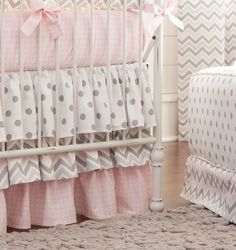 Pink and Gray Chevron Two-piece Crib Bedding Set by Carousel Designs.