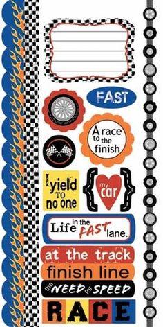 REV EM UP Cardstock Stickers Scrapbooking Race Boys Car Nascar Card Making | eBay