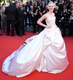 Best Dressed Stars on Cannes Red Carpet 2017 - Elle Fanning in a strapless ball gown