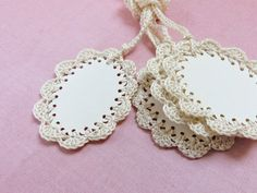 Hanging Gift labels. Crochet Gift Tags. All Occasion Blank Tags. Cream, Off White Crochet Embellishment. Holidays Gift Wrap Tags.