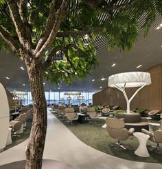 Air France business lounge, use of nature and interior is a nice blend