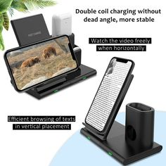 3 in 1 Qi Wireless Charger Charging Station Stand Dock For iPhone 11 Pro MaxXR 3