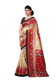 Shonaya Beige & Red Color Silk Printed Saree With Unstitched Blouse Piece