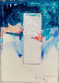 """Mario Schifano, 1934 Homs – 1998 Rom Schifano zählt zu den wichtigsten italienischen Künstlern des Postmodernismus. Mit Tano Festa und Franco Angeli gehörte er zur Kerngruppe der """"Scuola Romana"""". Seine Gemälde konzentieren sich oftmals nur auf eine bis zwei Farben. OHNE TITEL, ANFANG 1970ER JAHRE Lackfarbe und Collage auf Leinwand. 70 x 50 cm. Rechts unten signiert """"Schifano"""". Gerahmt."""