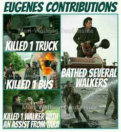 The Walking Dead funny meme - Eugene's contributions in season 5