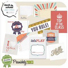 Lots of freebies from Persnickety Prints. Again, perfect for creating my own journaling cards!