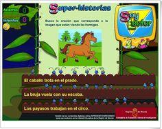 """""""Super-historias"""" es un juego de Edicinco, publicado por Educarm, en el que las hormigas presencian imágenes en el cine y es necesario encontrar la frase que corresponde a la imagen mostrada. Útil para final de Educación Infantil y para 1º nivel de Educación Primaria."""