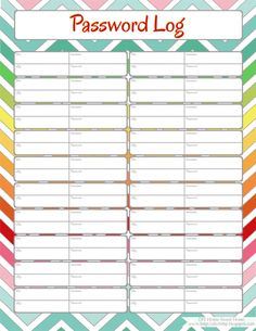 Home Management Binder (Free Printables) - Password Log