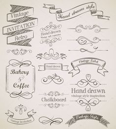 This is a collection of free vintage design elements to use in your designs. These vintage design elements are vector shapes that are infinitely scalable. Vintage Frames, Rustic Frames, Vintage Invitations, Vintage Labels, Free Vector Art, Vector Graphics, Bullet Journal Vintage, Molduras Vintage, Clip Art