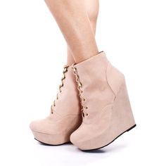 NUDE FAUX SUEDE LACE UP PLATFORM WEDGE ANKLE BOOTIES ❤ liked on Polyvore