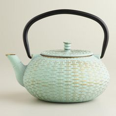 One of my favorite discoveries at WorldMarket.com: Aqua Cast Iron Basket Weave Teapot
