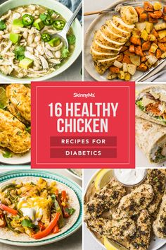 These delicious chicken recipes for diabetics are not only healthy, but can spice up a diet that has become bland and boring! Skinny Chicken Recipes, Diabetic Chicken Recipes, Diet Recipes, Healthy Recipes, Skinny Recipes, Diabetic Foods, Italian Baked Chicken, Greek Lemon Chicken, Clean Eating Recipes