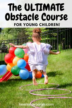 Looking for a fun children's activity this summer? Make an obstacle course for kids in your own backyard! Here are 6 easy and fun obstacles for young kids to enjoy. #backyardfun #disneyjunior #obstaclecourse #kidsactivities #summerfun