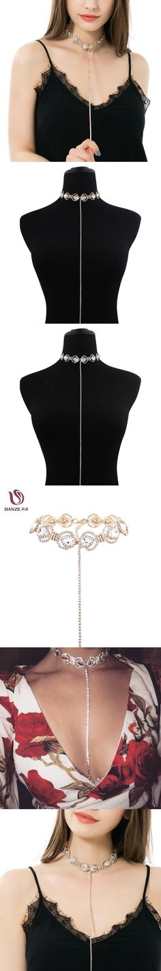 Danze 2017 Full Rhinestone Crystal Water Drop T Style Choker Necklace For Women Sexy Sparkling Statement Party Jewelry Girls