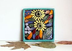 Ceramic tile two sunflowers, Decorative Art, Wall Art