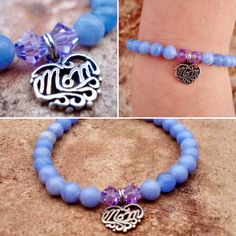 "Sterling silver ""Mom"" with blue lace agate and Swarovski crystals beads. Women's bracelet, gift for mom"